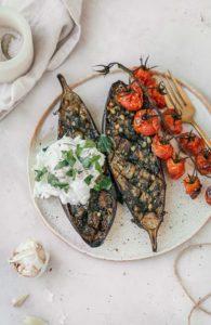 Geroosterde aubergine met pesto en burrata